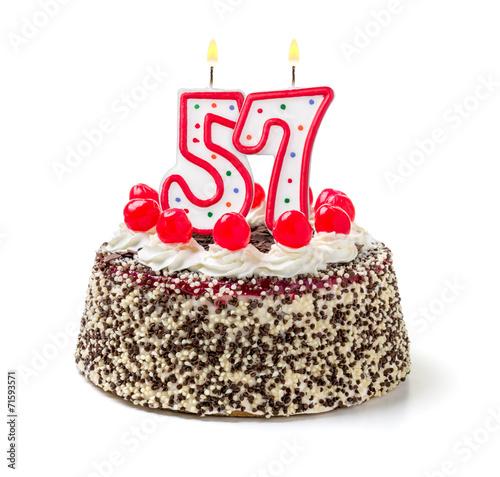 Photo  Geburtstagstorte mit brennender Kerze Nummer 57
