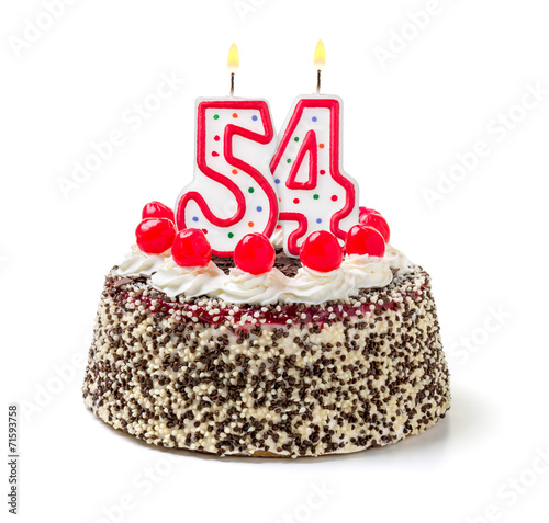 Fotografia  Geburtstagstorte mit brennender Kerze Nummer 54