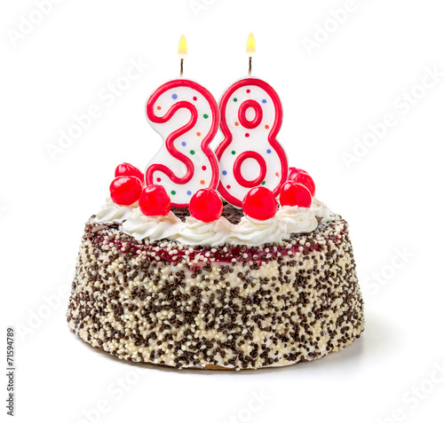 Papel de parede  Geburtstagstorte mit brennender Kerze Nummer 38