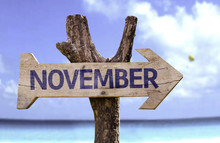 November Wooden Sign With A Be...
