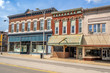 canvas print picture - Ornate downtown shops and storefronts on main street in Midwest small town