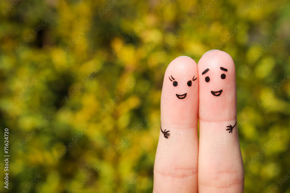 Fototapety, obrazy: Finger art of a Happy couple. A man and a woman hug