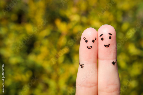 Canvas Print Finger art of a Happy couple. A man and a woman hug