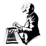 Jazz pianist in black and white - 71627188