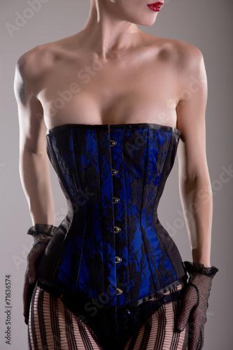 Busty blue corset