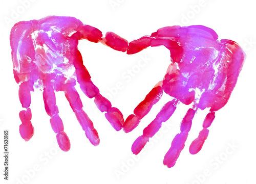 Fotografia, Obraz  HandPrint love heart