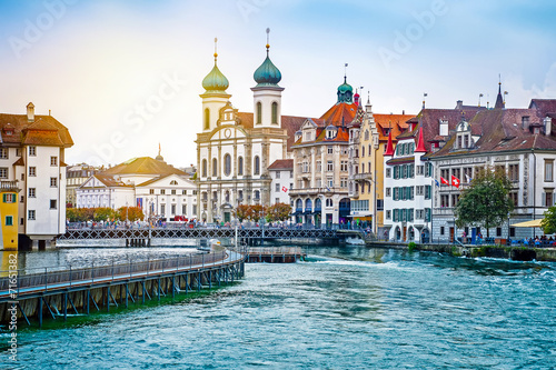 Photographie  Cityscape of Lucerne in the evening, Switzerland