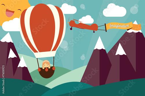 wyobrazni-pojecie-dziewczyna-w-lotniczym-balonie-i-samolocie