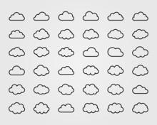 Big Vector Set Of Thirty-six Cloud Shapes
