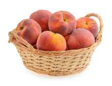 Peaches In Basket Isolated