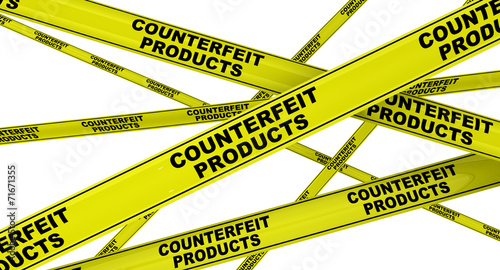 Fotografering  Counterfeit products. Yellow ribbon