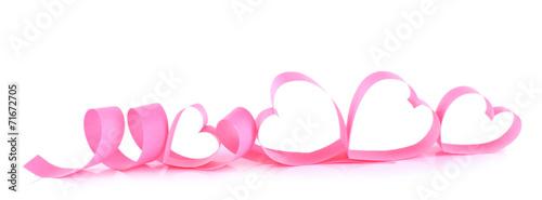 Fototapeta Heart shaped pink paper ribbon isolated on white obraz