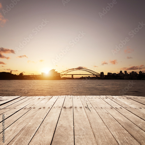Fotografering  wooden board and Sydney landmarks