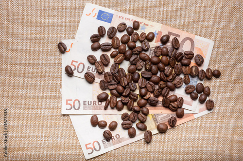 Wall Murals Coffee beans Coffee on money