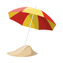 Beach Umbrella Isolated Over W...