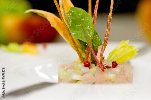 Fotografie, Obraz  tartar with amberjack, celery and food garnish