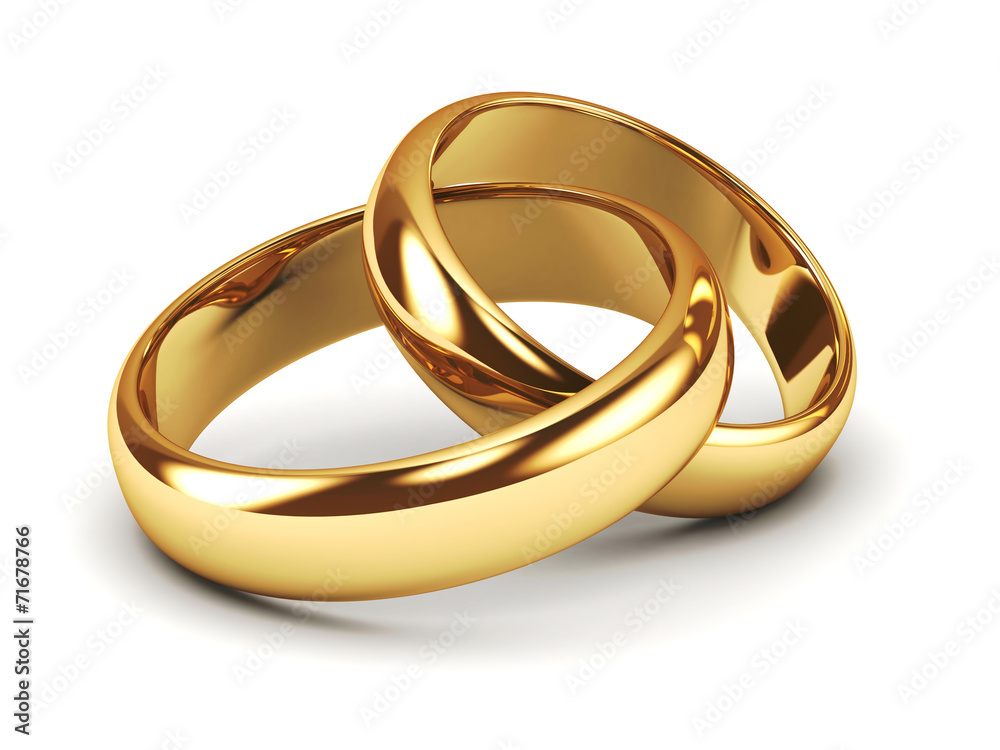 Fototapety, obrazy: A pair of gold wedding rings