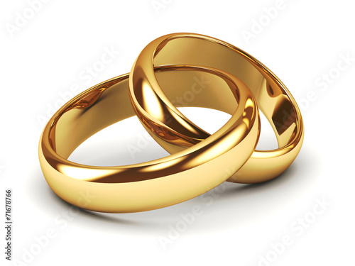 Fotografie, Obraz  A pair of gold wedding rings
