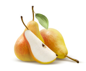 Two yellow pears and quarter split isolated on white