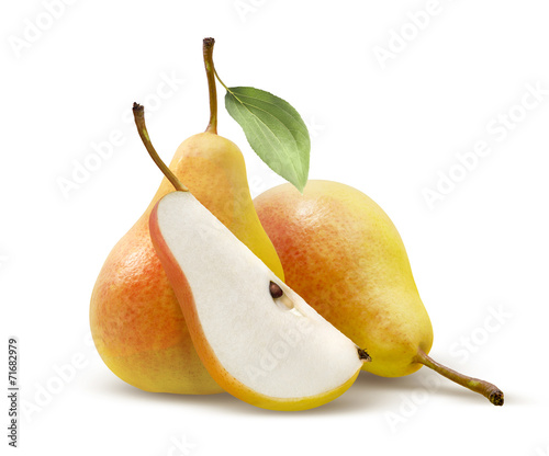 Vászonkép Two yellow pears and quarter split isolated on white