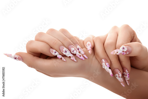 Fototapeta Female hand with beautiful fingernails.Isolated.