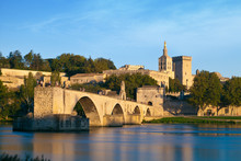 Avignon Bridge With Popes Palace And Rhone River, Provence