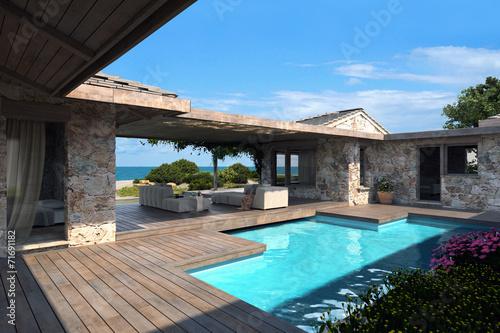 Fotografie, Obraz  Patio con piscina