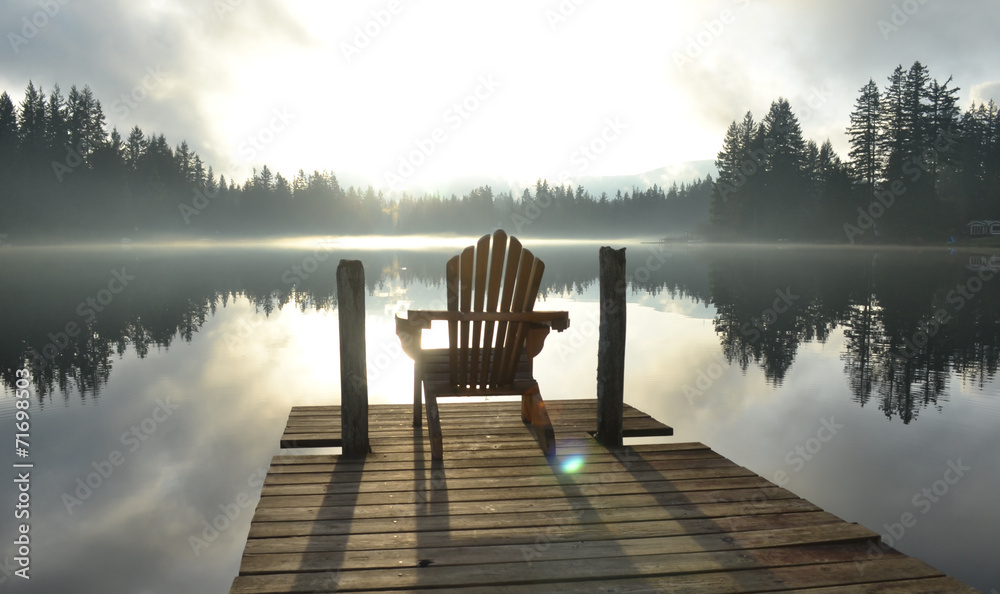 Fotografie, Tablou  Chair on Dock at Alice Lake in Late Afternoon