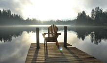 Chair On Dock At Alice Lake In...