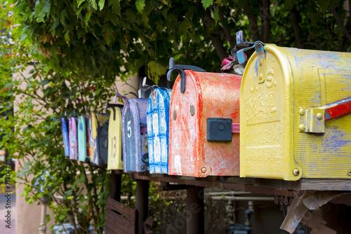 Fotomural Colorful Vintage Mailboxes