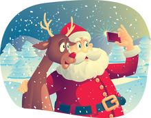 Santa Claus And Rudolph Taking...