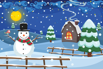 Winter Night Scene Vector Illustration