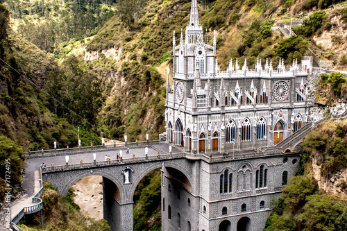 Photo Stands South America Country Las Lajas, church built on cliff in Colombia