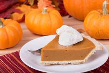 Pumpkin Pie Slice And Pumpkins