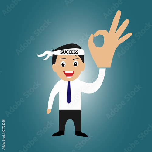 Businessman With Success Head Band And Ok Sign Buy This Stock