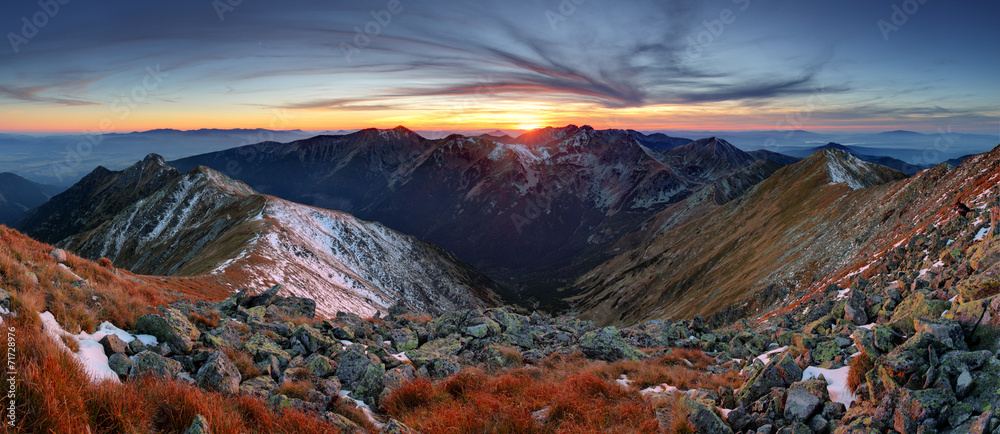 Fototapety, obrazy: Mountain sunset panorama in West Tatras