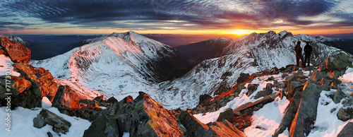 Majestic sunset in winter mountains landscape #71730310