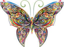 Tracery Butterfly, Bright Gradient