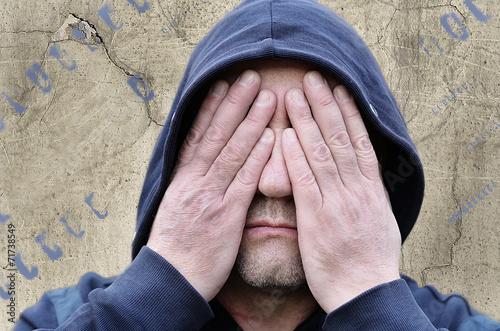 Fotografie, Obraz  Человек с закрытыми глазами.