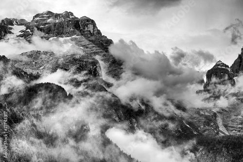 Fotografering  Dolomites Mountains Black and White