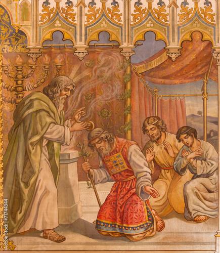 Photo Trnava - fresco of fhe scene Moses benedicite of Aron
