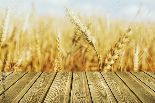 Wheat and Wood Table Poster