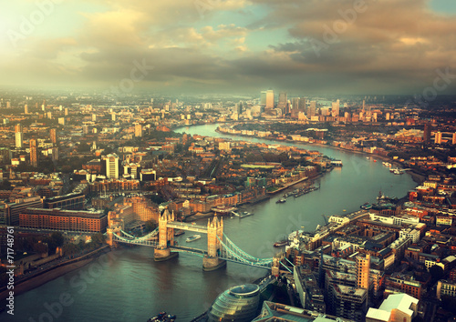 Poster London London aerial view with Tower Bridge in sunset time