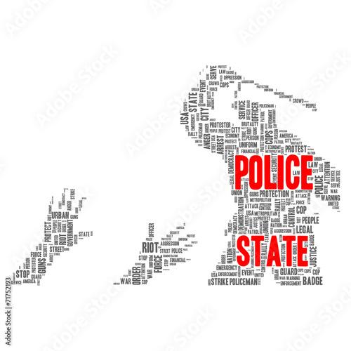 Fényképezés  Police state word cloud concept