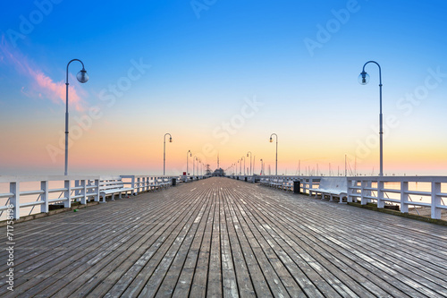 Fototapety, obrazy: Sunrise at wooden pier in Sopot over Baltic sea, Poland
