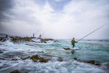 Morocco Fisher In Wild Sea