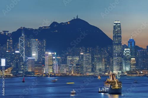 Victoria Harbor of Hong Kong at dusk Poster