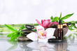 Spa stones, orchids, bamboo branches and aroma oil