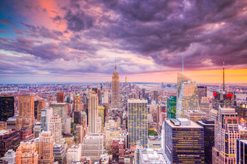 Panel Szklany Wieżowce Paesaggio di città di new york con grattaciel