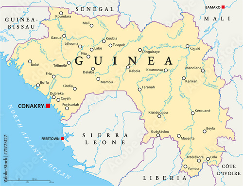 Fotomural  Guinea Political Map